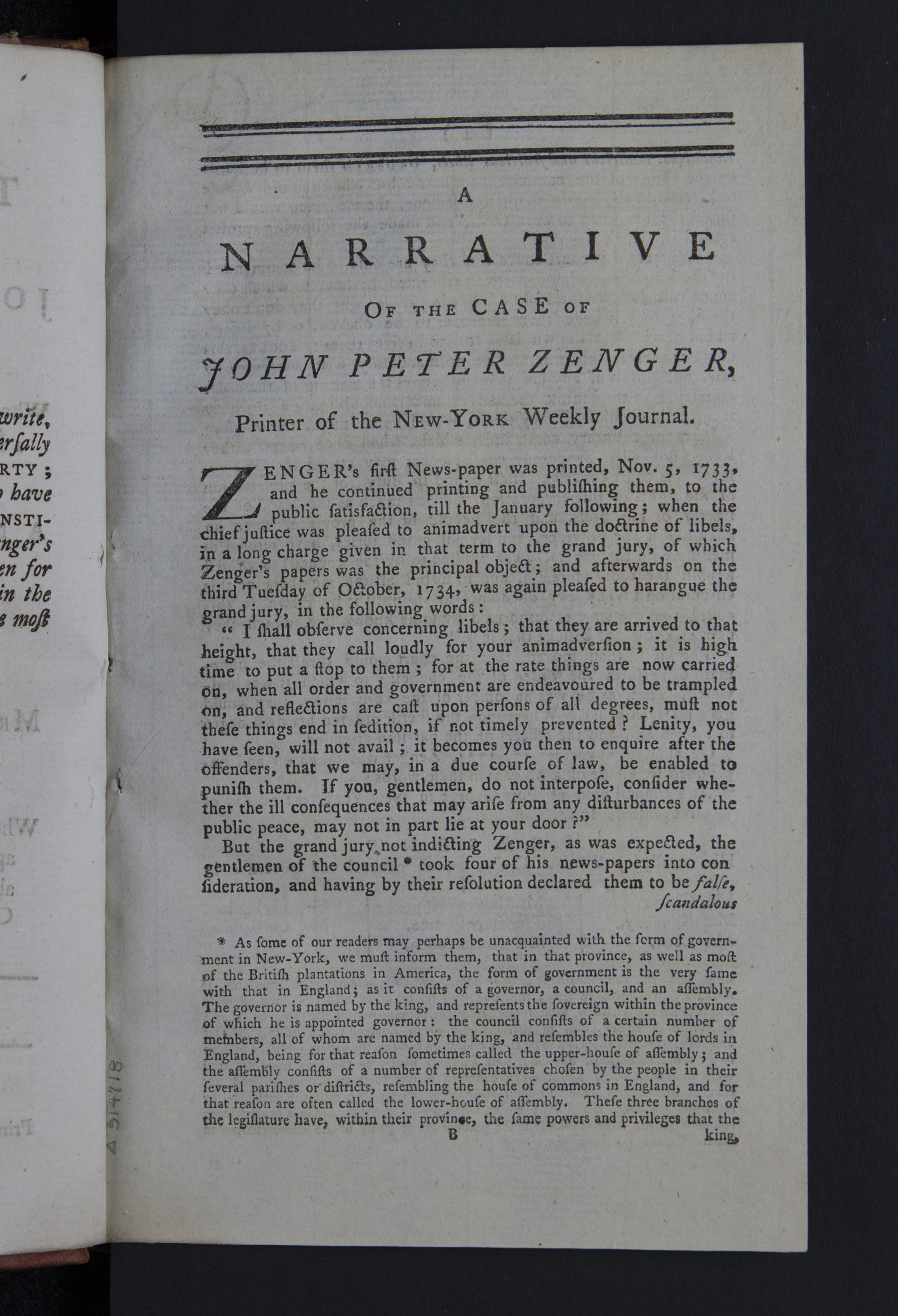 Figure 3. Peter Zenger, Boston News-Letter. 1768. K39 .Z43t Peter Zenger's  acquittal in 1734 of a case where he was accused of libel by the Governor  of New ...